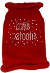 Cutie Patootie Rhinestone Knit Pet Sweater SM Red